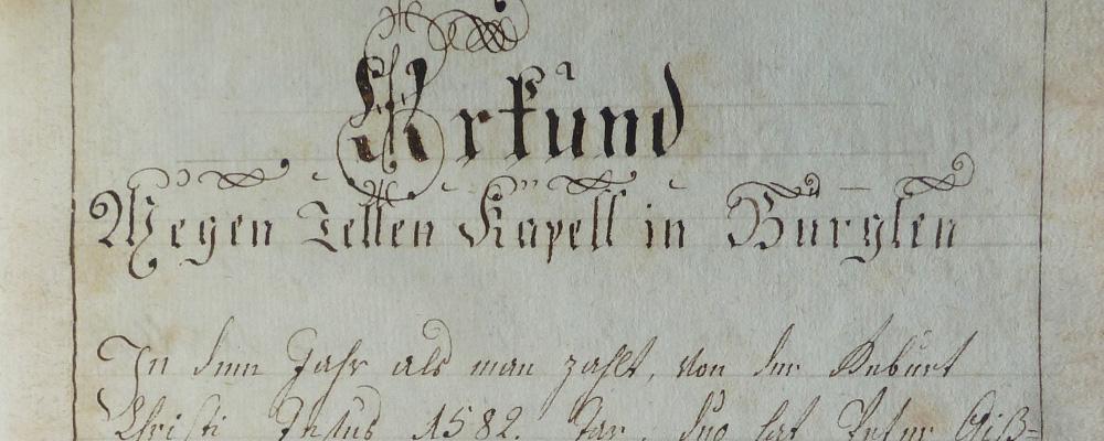 Stiftungsbrief der Tellskapelle, 1582